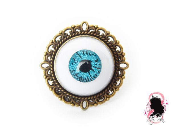 Antique Bronze and Blue Eyeball Ring